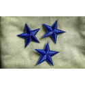 3 star patches, blue, ca.40mm iron on /sew on patch