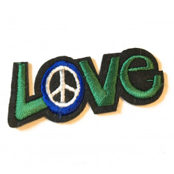 LOVE'N PEACE patch, ca. 65mm iron on sew on badge
