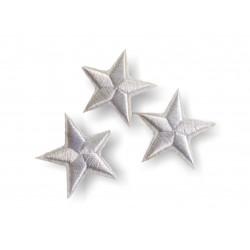 3 Stern Bügelbilder, weisse Patches, ca. 40mm Sternchen