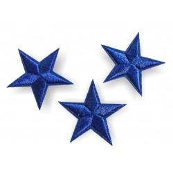 3 Stern Bügelbilder, blaue Patches, ca. 40mm Sterne