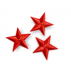 3 star patches, red, ca.40mm iron on /sew on patch