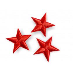 3 Stern Bügelbilder, rote Patches, ca. 40mm Sternchen