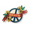 Iconic PEACE patch, floral vintage design, iron on ca.130mm