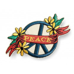 Großes Peace Bügelbild, floraler Vintage Design Patch ca.130mm
