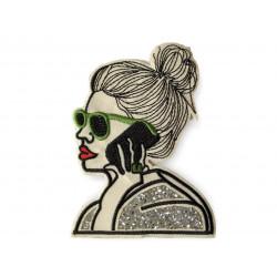 Hipster GIRL MESSY BUN, Aufnäher mit Strassbesatz, ca.130mm