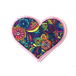 RAINBOW FLOWER HEART patch, iron on / sew on, ca. 95mm