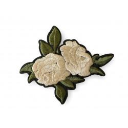 Classy rose patch, green/beige, ca.80mm