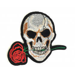 Patch SKULL 'N ROSE, Aufbügler, ca. 95mm