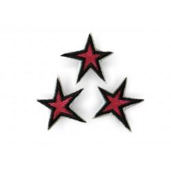 3 Stern Bügelbilder, pink/schwarz, Patches, ca. 40mm Sternchen