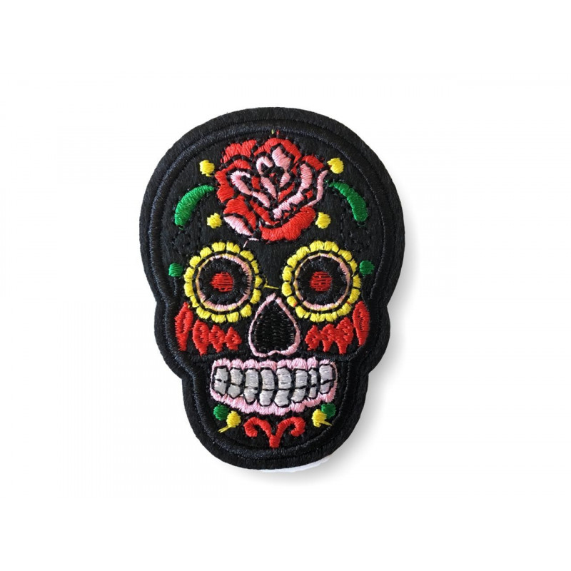 Skull Patch black, de los muertos style, ca. 70mm iron on sew on