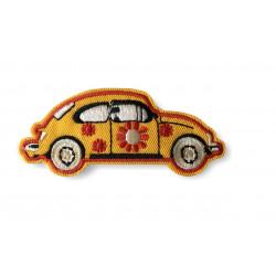 Kult-Patch HIPPIE FLOWER CAR, gelb, Bügelbild ca.85mm Aufbügler