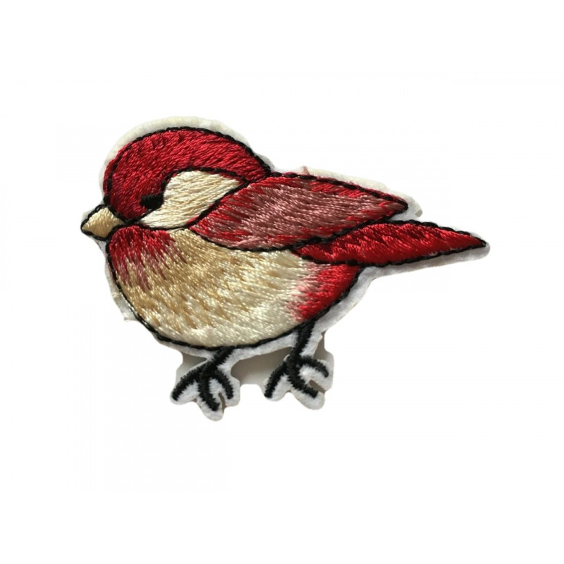 RED BIRD patch, iron on sew on badge ca. 60mm