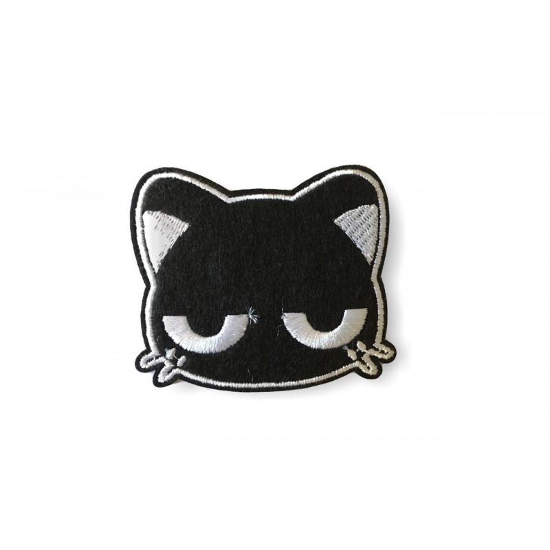 Street Patch Katze, schwarzweiß, Bügelbild ca.60mm