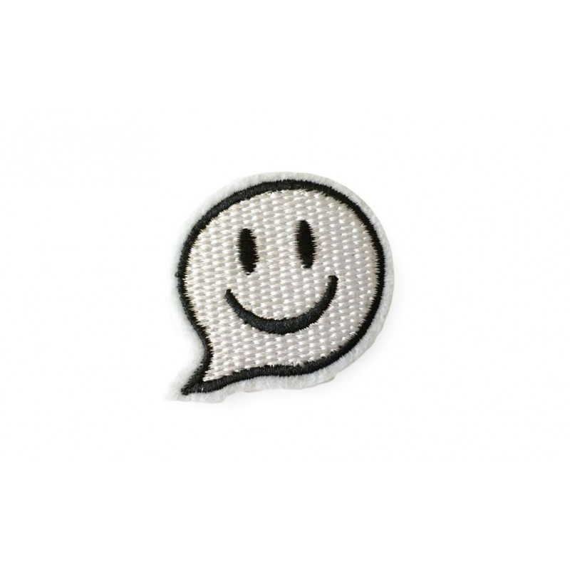 Bubble smiley, white and black patch, ca.50mm iron on sew on