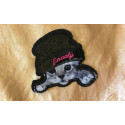 Cute cat with hat, iron on patch, ca.85mm, black and white
