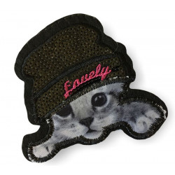 Cute cat with hat patch, ca.85mm, black and white, sew on