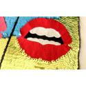 Pop Art MUND, Wechsel Pailletten Applikation, Farbwechsel Pacth ca.17x26cm