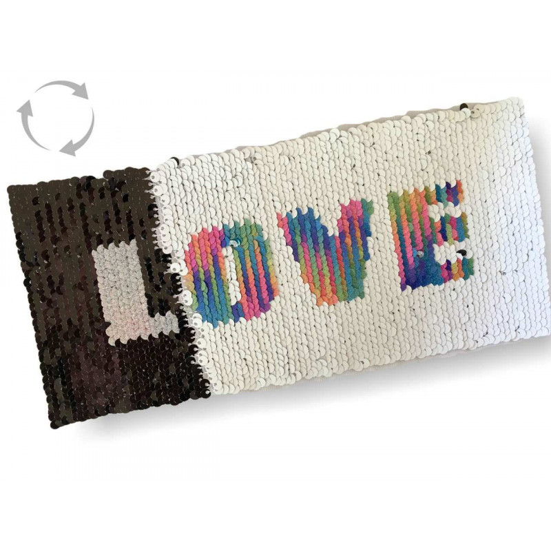 Wechsel Pailletten Patch LOVE, rainbow-s/w, XL Farbwechsel Applikation ca.11x23cm