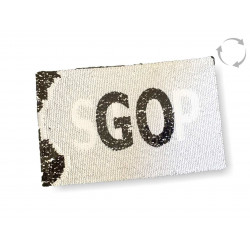 Reversible sequins patch STOP GO, black-white, XL color change wipe applique ca15x24cm