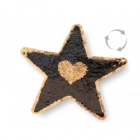 Reversible sequins patch STAR, black-gold, XL color change wipe applique ca.22cm