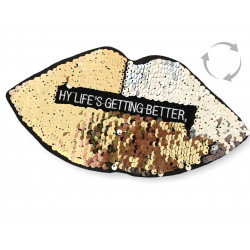 Reversible sequins patch LIPS, silver-gold, XL color change wipe applique ca.24cm