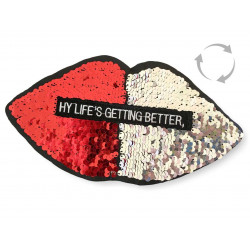 Reversible sequins patch LIPS, red-silver, XL color change wipe applique ca.24cm