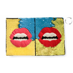 Reversible sequins applique, POP ART LIPS, yellow-blue-gold, color change wipe ca.17x26cm