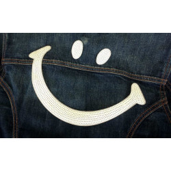 BIG SMILE sequin patches, white, sew on ca. 13x26cm