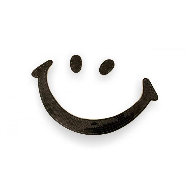 Pailletten Patch BIG SMILE, schwarz, Aufnäher ca. 13x26cm