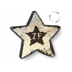 Reversible sequins patch STAR, black-silver, XL color change wipe applique ca.23cm