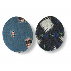 Two iron on pattern patches, ca.70mm, jeans stye