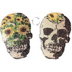 Reversible sequins applique FLOWER SKULL