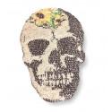FLOWER SKULL, Wechsel Pailletten Patch , bunt-s/w, Farbwechsel Applikation ca.18x28cm