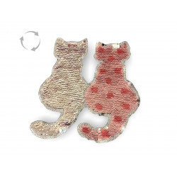 Reversible sequins Cats, rose/silver, XL applique ca.19cm