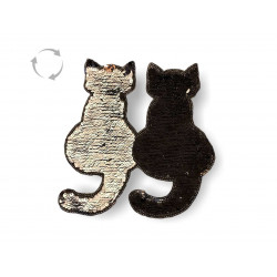 Reversible sequins Cats, black/silver, XL applique ca.19cm