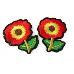 Zwei Blumen Bügelbilder, ca.45mm