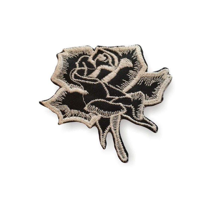 Sew on appliqué rose, Italian, black and white