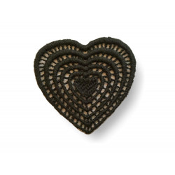 Woll appliqué heart, Italian macramé, sew on/black