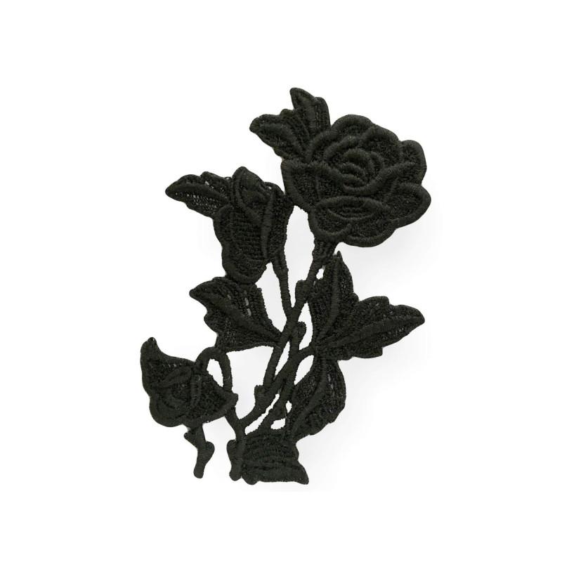Black macramé appliqué, baccara black, sew on, Italy