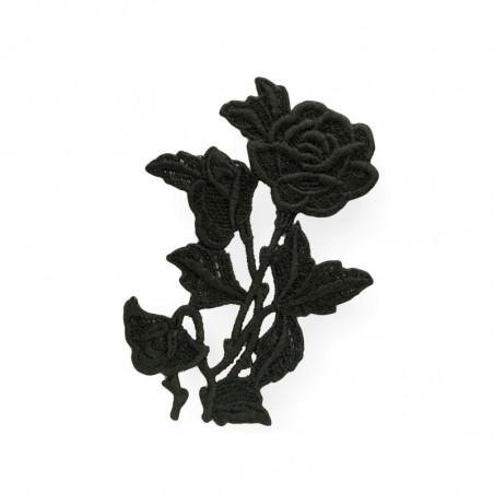 Black macramé appliqué, baccara big, sew on, Italy