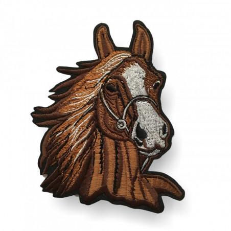 Iron on pacth horse's head, brown
