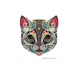 Big CAT HEAD, mandala style iron on transfer applique