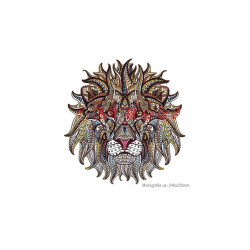 Big MANDALA LION print patch, iron on transfer applique