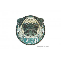 Big print patch LAUGH PUG, iron on transfer applique