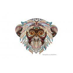 Großes Mandala Bügelbild AFFE, Print Patch zum aufbügeln