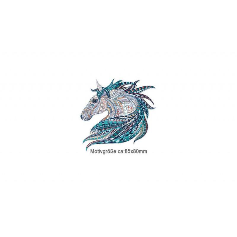 Kleines MANDALA HORSE Bügelbild, Print Patch zum aufbügeln