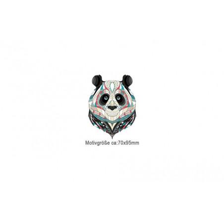 Kleines Bügelbild MANDALA PANDA, Print Patch zum aufbügeln