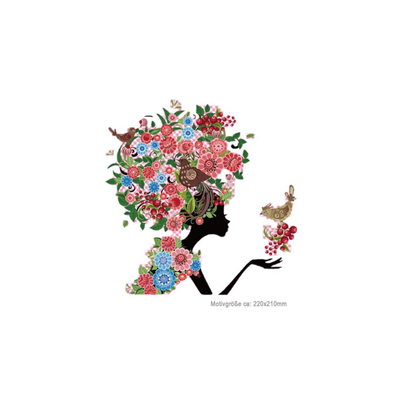 Bügelbild BLUMENKOPF, floraler Print Patch zum aufbügeln