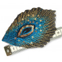 Fine sequin patch, peacock feather design, blue, 10x6cm, iron on /sew on
