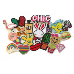 20pcs patch bomb CHIC, iron on patches, mixed streetwear designs